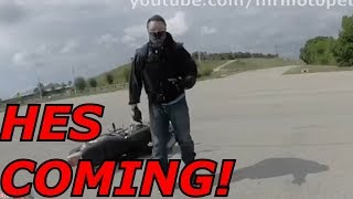 Motorcycle Crash WITH NO HELMET While Running From The Police.  BIKER DITCHES BIKE