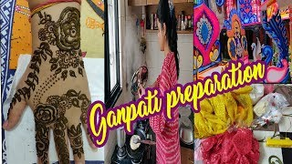 बप्पा को घर लाने की तैयारी(साडी शॉपिंग,गणपति मार्किट)~indian morning to night routine~Ganpati Utsav