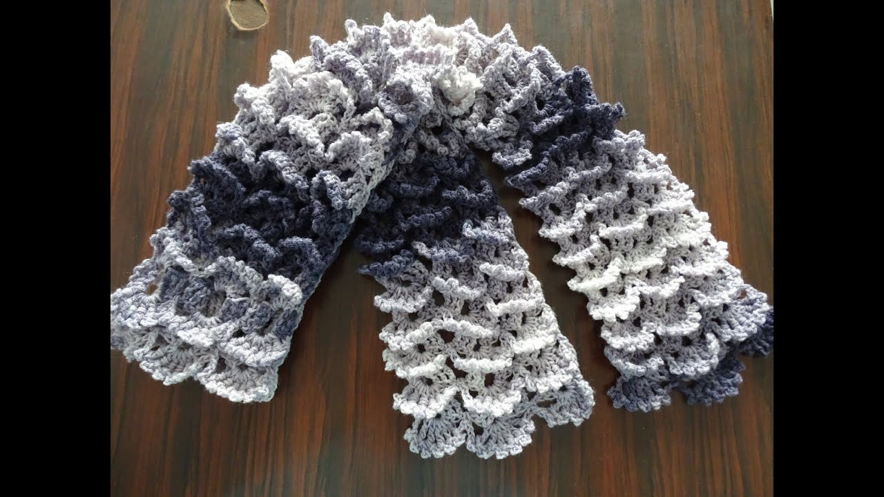 Crochet Stitches Shell Instructions : Picot Shell Stitch Scarf - Crochet Tutorial - ViYoutube