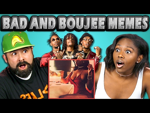 ADULTS REACT TO BAD AND BOUJEE (Memes - Rain Drop, Drop Top)