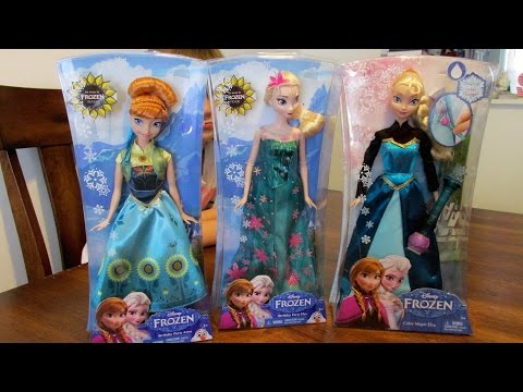 24- Disney Frozen Fever Elsa and Anna Dolls Toy Unboxing and Review: Part 1
