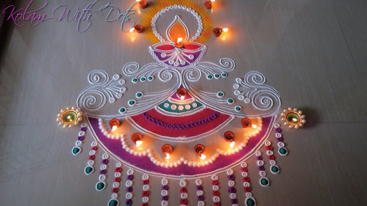 Beautiful Diya Rangoli Designs With Colours - For Festivals and ... for rangoli designs for diwali with diya  117dqh