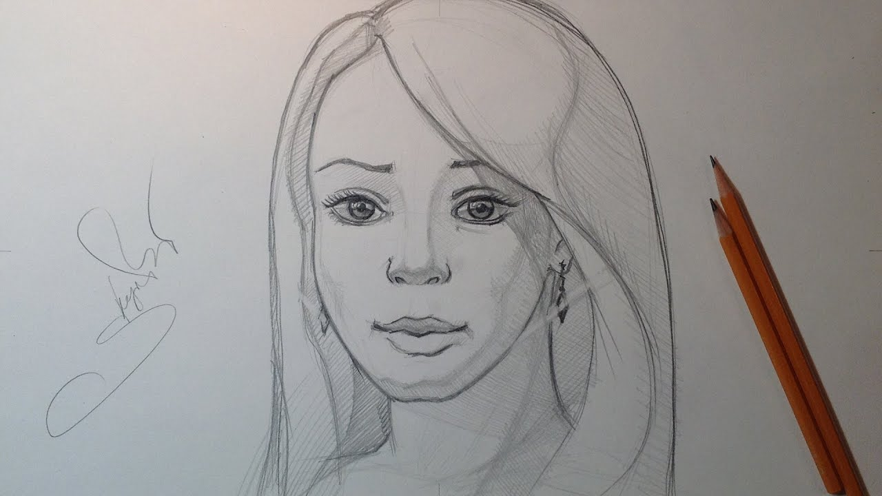 Drawing sketch face cute woman portrait pencil drawing набросок портрета каранд