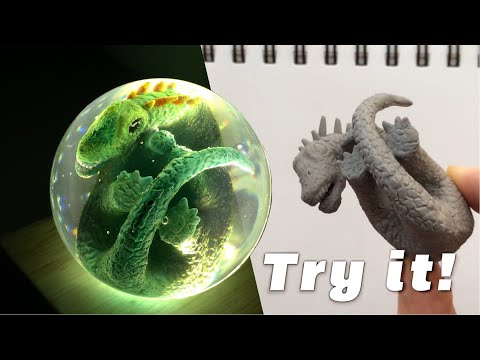 Make one! Easy Dinosaur egg Resin Craft (Sphere Mold)