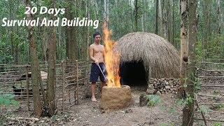 20 Days Survival And Build In The Rain Forest - Full Video
