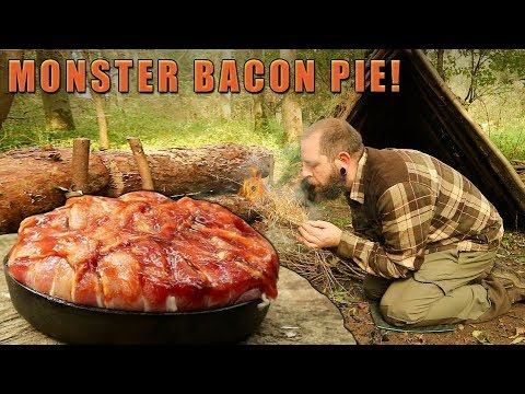 Bacon Wrapped Monster Pie - Campfire Cooking