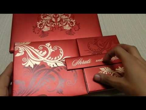 Red Wedding Card With Golden Flower Design | Lotus Card Studio
