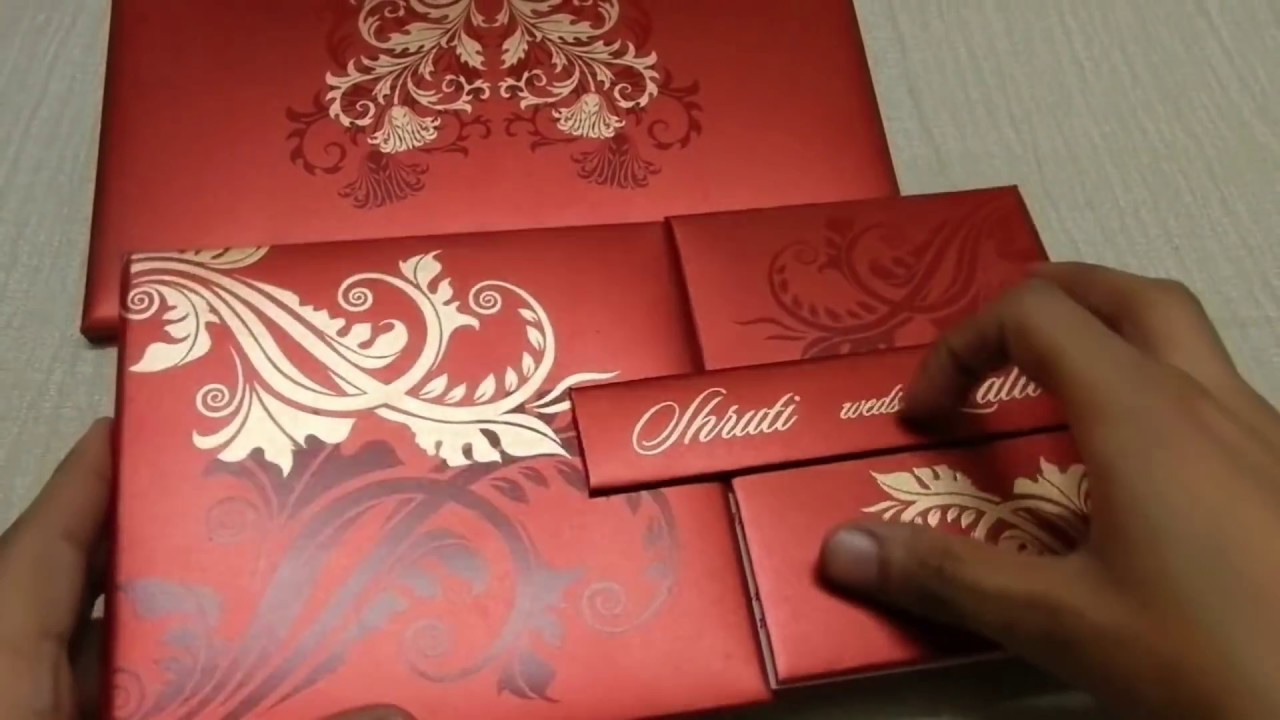 Red Wedding Card With Golden Flower Design | Lotus Card Studio - YouTube