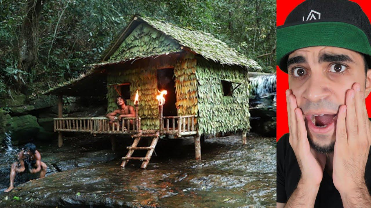 رجل الغابة بيني بيت اسطوري تحت الشلال !!