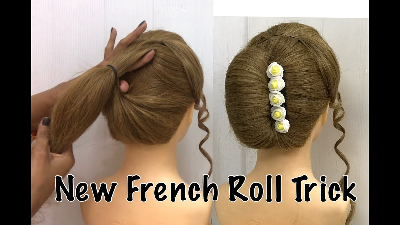 French Bun Hairstyle Trick  French Roll  French Twist Hairstyle  French  Hairstyles