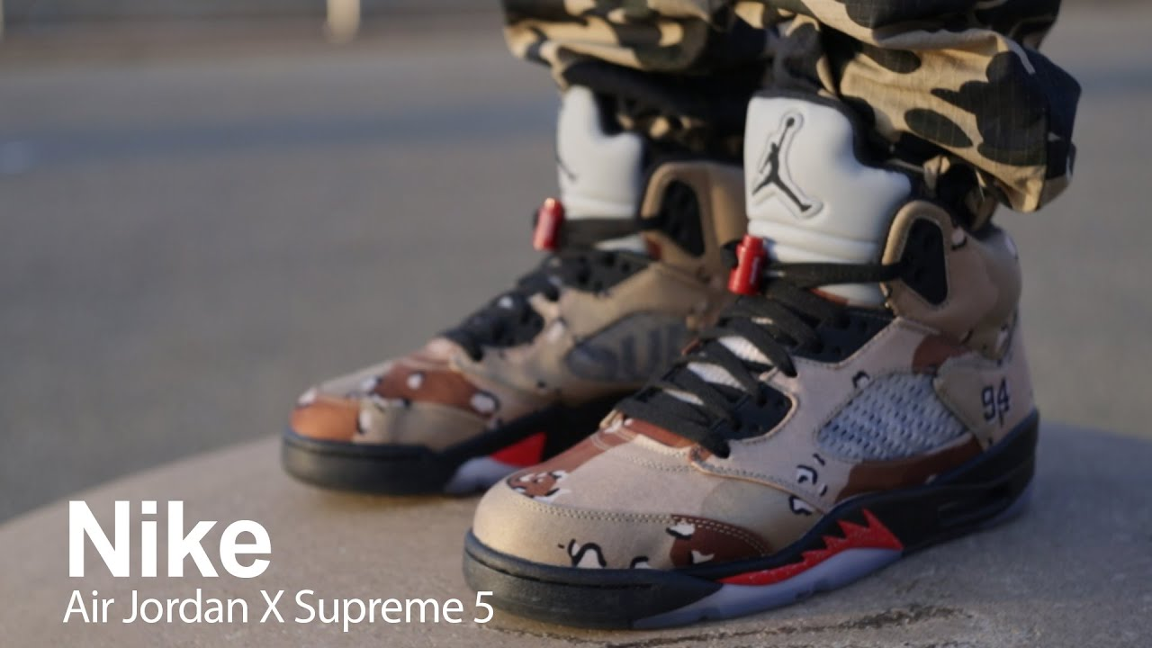 nike air jordan 5 x supreme camo background