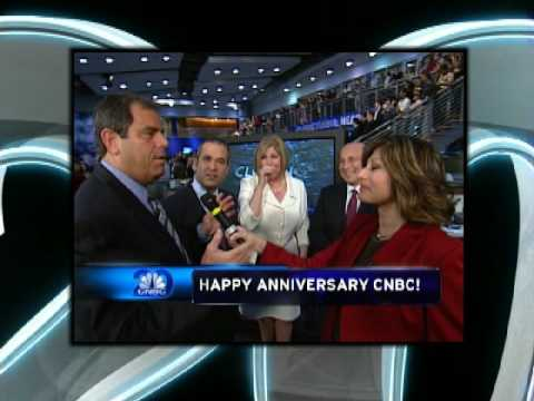 CNBC TV  20th Anniversary NYSE Closing Bell Ringing in Studio  April 17, 2009