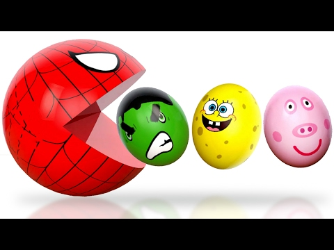 Thumbnail: Learning Colors 3D Pacman and Character Eggs spiderman