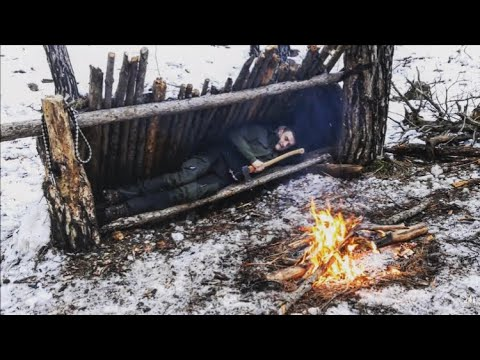 Can You Survive with Axe Only? No Gear Survival Challenge in Snow Shelter