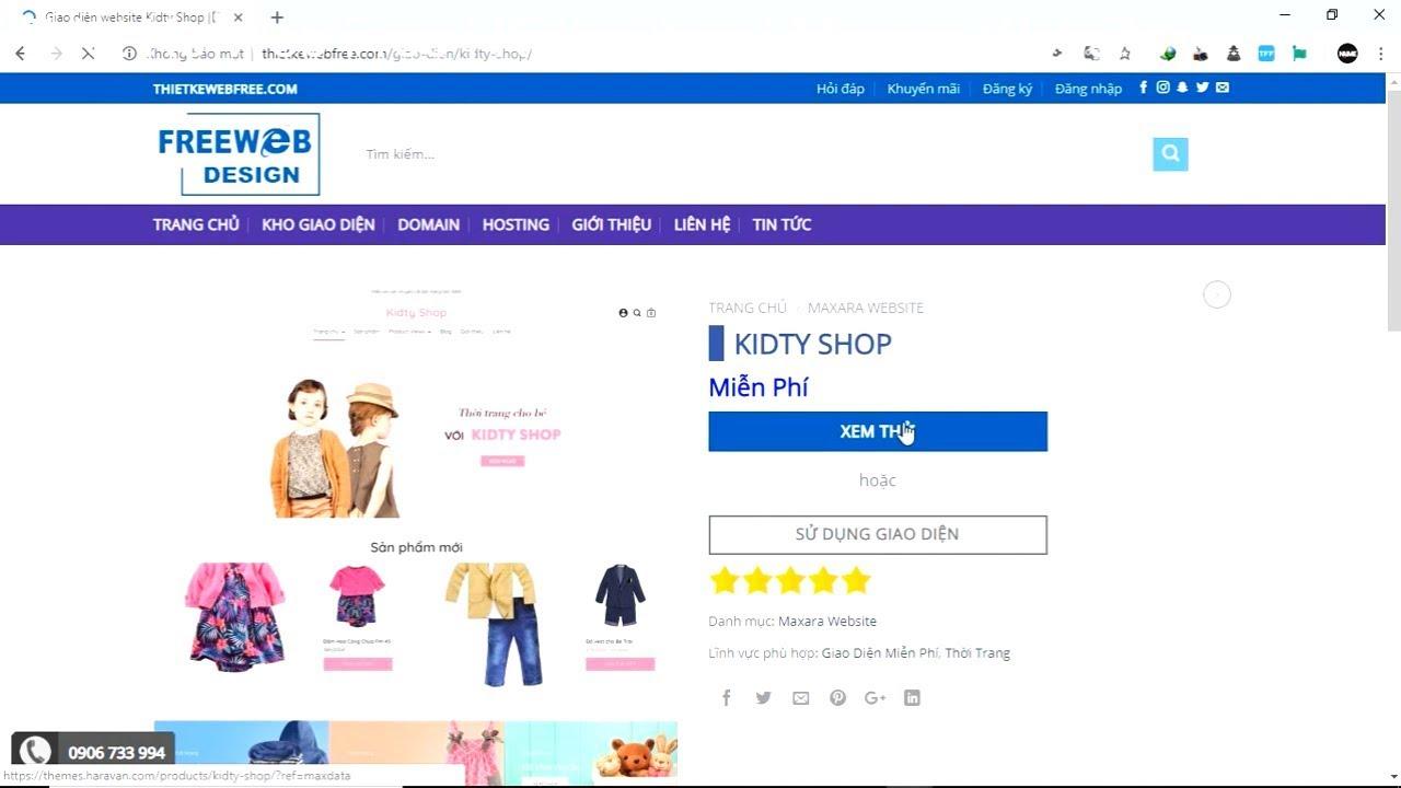 Cách cài đặt Giao diện Website Kidty Shop | Thietkewebfree.com