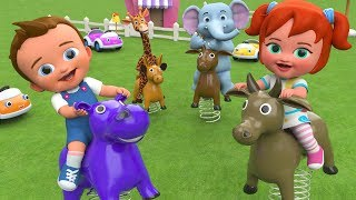 Kids Activities - Little Babies Fun Play with Elephant and Giraffe | Animal Spring Toys 3D Education