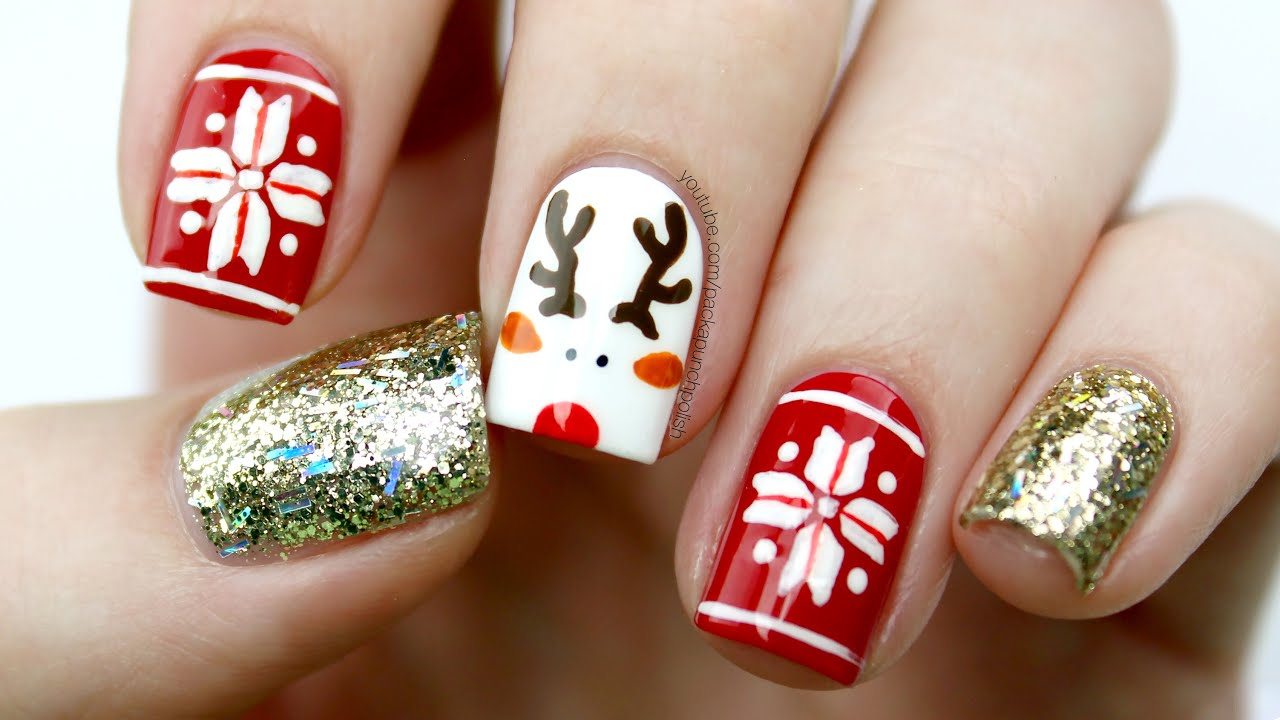 Cute Reindeer & Fair Isle Holiday Nail Art Tutorial - YouTube