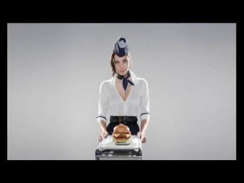 Tv spot carl s jr mile high bacon thick burger flight attendant