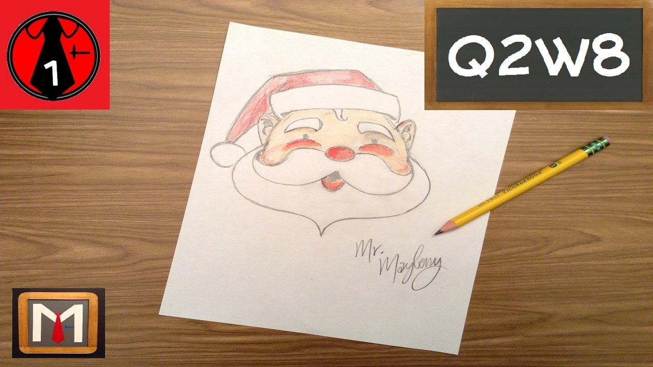 Line Drawing Santa Face : How to draw santa s face youtube