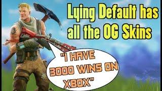 Lying Default Says He Has All OG Skins (3000 Wins On Xbox?!) - Fortnite Playgrounds Trolling Kids