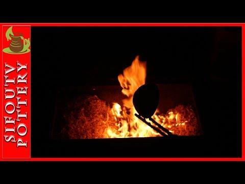 Raku Pottery video: Raku Pottery Glazing and Firing Part C #114