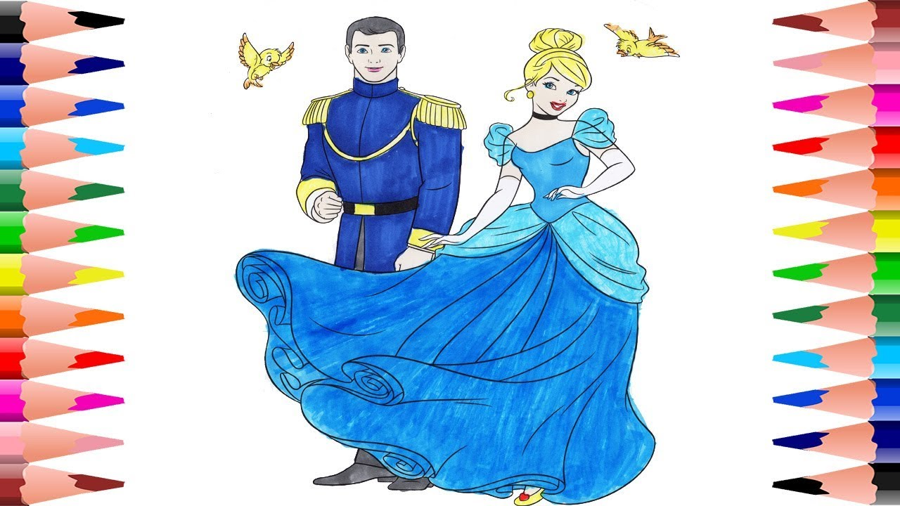 Painting Disney Princess Cinderella and Prince Coloring Pages for ...