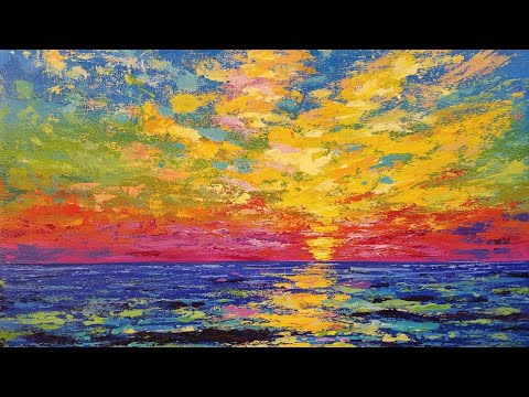 SUNSET OCEAN Palette Knife Acrylic Tutorial FREE Step by Step Painting Lesson LIVE