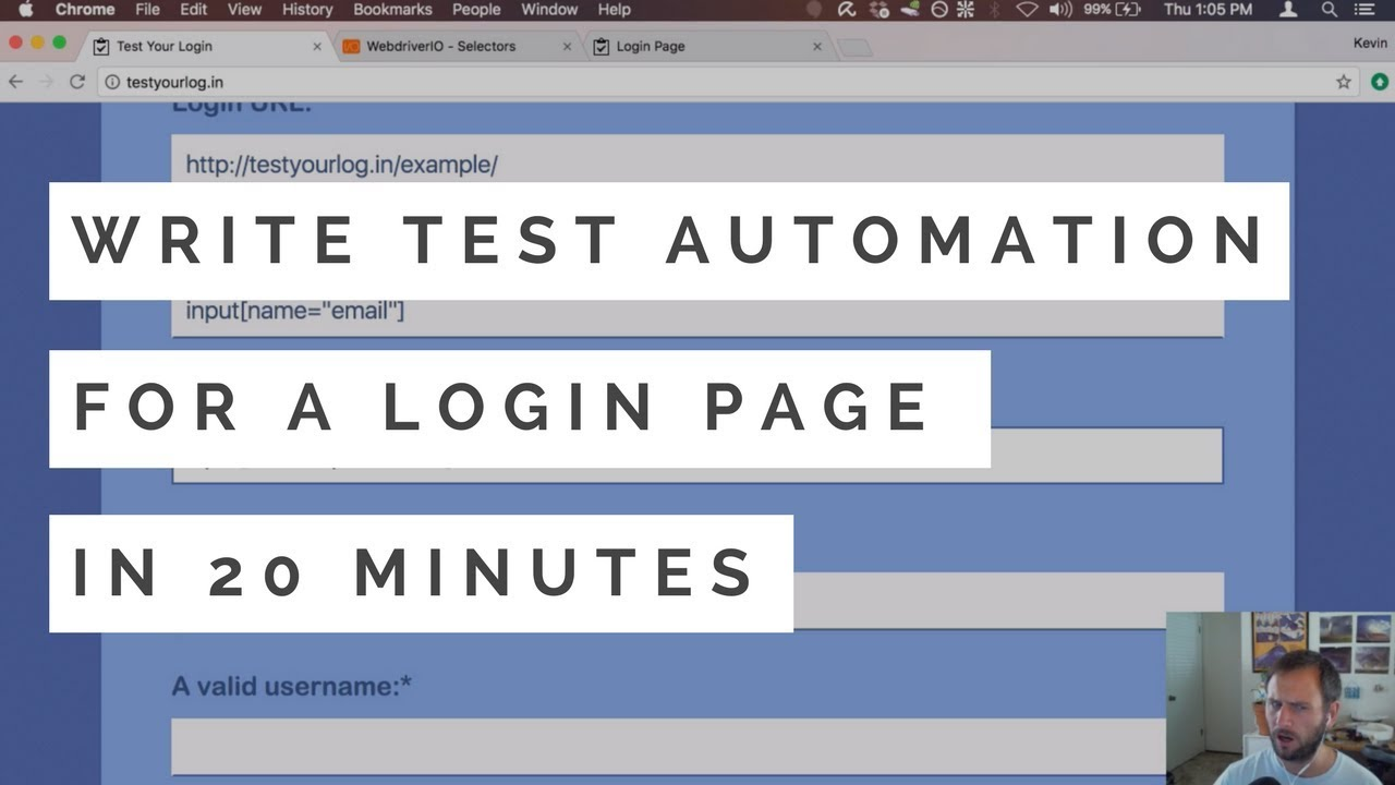 Write test automation for a login page in 20 minutes