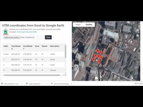 Coordinates UTM Excel to Google Mapas and kml file