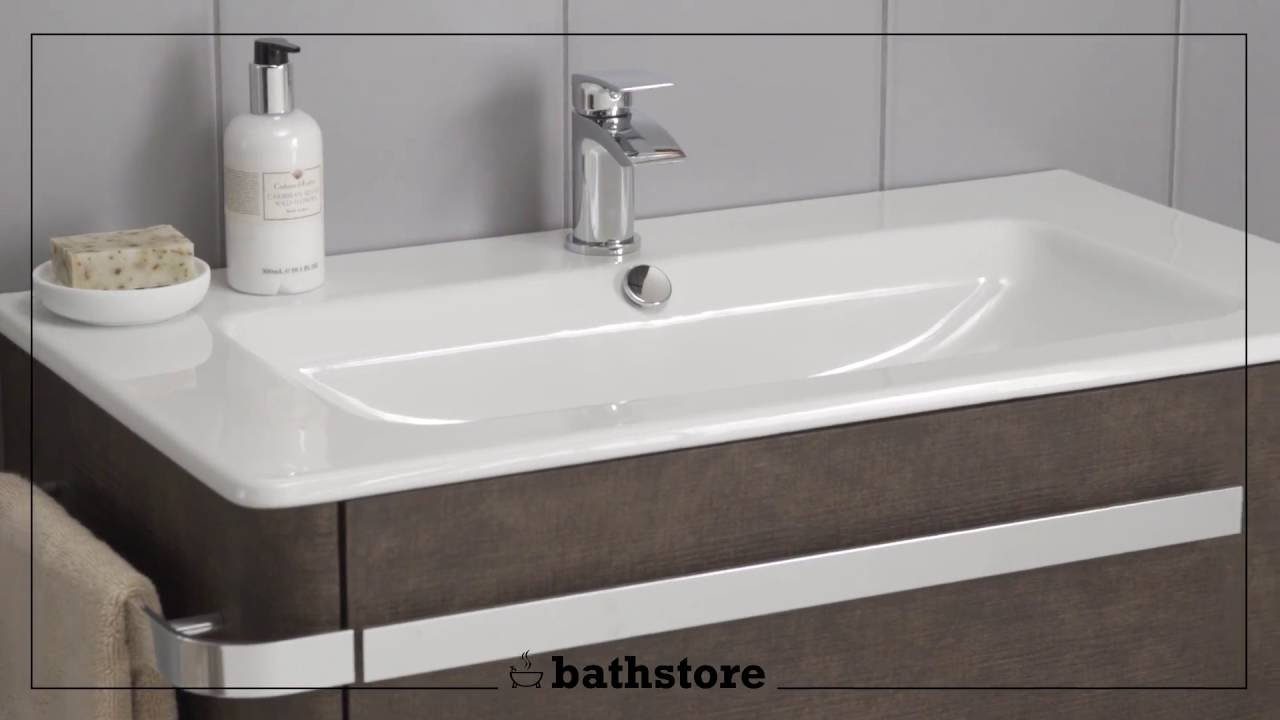Linen 800 basin and wall mounted unit - YouTube