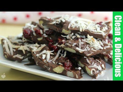Dark Chocolate Coconut Cranberry Bark | Clean & Delicious