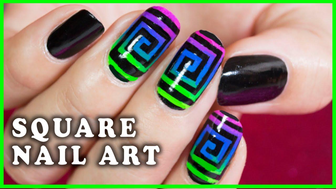 Square Nails Nail Art Design Nanasanzmes3 Youtube