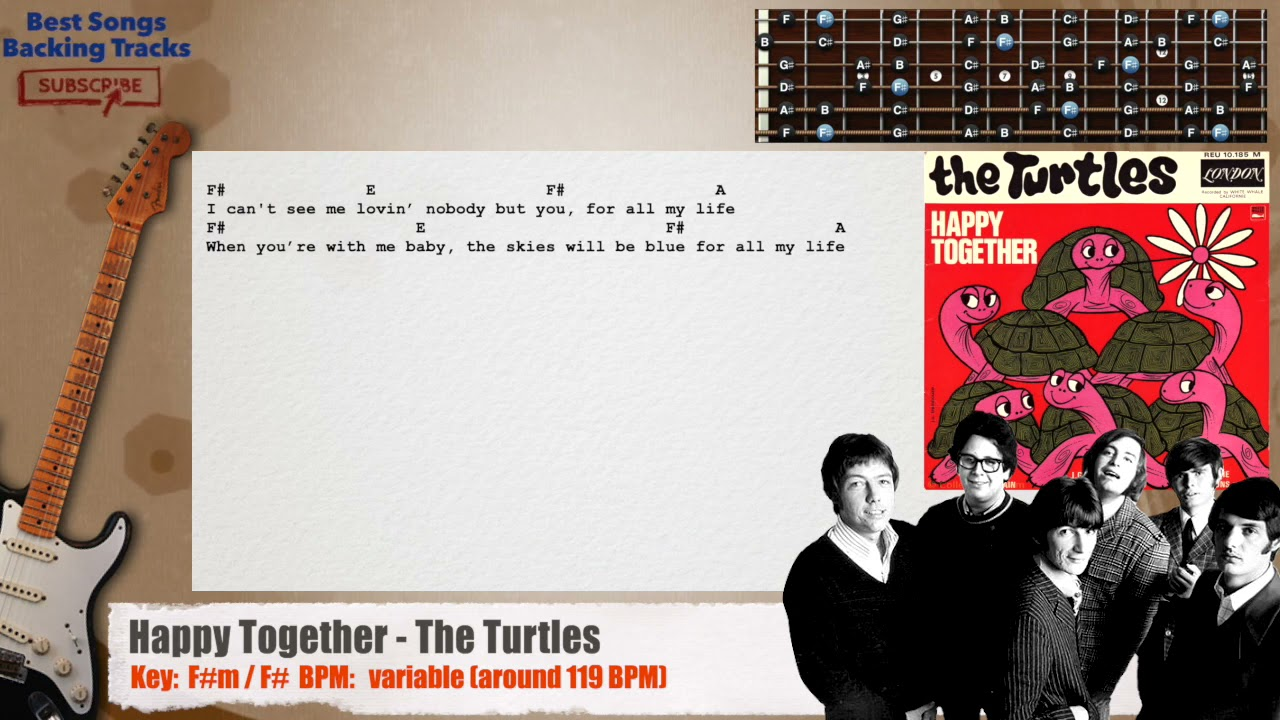 🎸 Happy Together - The Turtles Guitar Backing Track with chords and lyrics