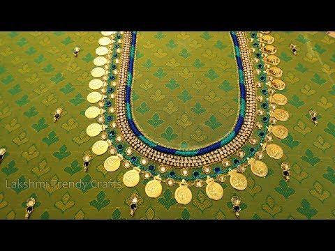 Aari/Maggam Lakshmi Kasu/Coin Work On Kids Lehenga