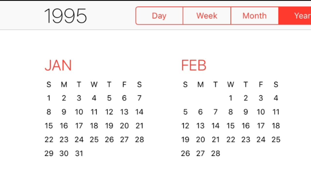 1995 Calendar Youtube