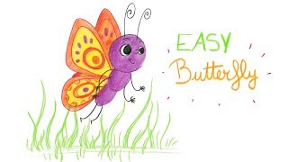 HOW TO DRAW A BUTTERFLY (EASY WAY) / COMMENT DESSINER FACILEMENT UN PAPILLON