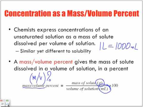 Concentration Of Solutions Introduction Massvolume Mv Youtube