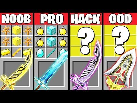 Minecraft Battle: ABILITY SWORD CRAFTING CHALLENGE - NOOB vs PRO vs HACKER vs GOD ~ Animation