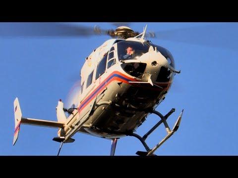 Вертолет Eurocopter  Ec-145  МАЦ - вылет на дежурство / Москва / Helicopter /