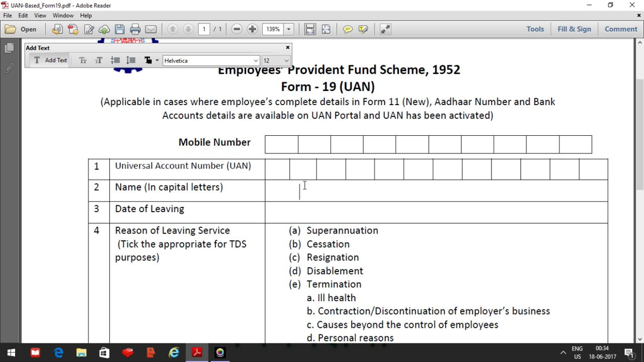 Employees Provident Fund Scheme 1952 Form 19 Pdf