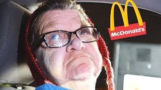 ANGRY GRANDMA DRIVES TO McDONALDS!