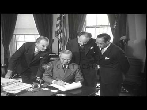 United States President Harry Truman signs housing bill in Washington D.C . that ...HD Stock Footage
