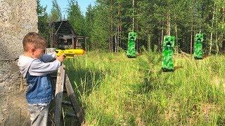 Nerf Game  Bogdan VS 100 Creepers Нерф Игра  Богдан против 100 Крипперов
