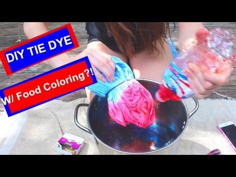 Diy tie dye with food coloring youtube for How do you dye a shirt