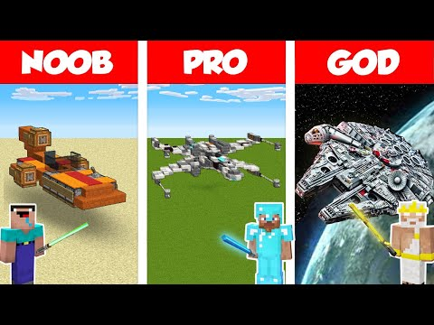 Minecraft: LIFE OF JEDI - STAR WARS BUILD CHALLENGE / NOOB Vs PRO Vs GOD In Minecraft