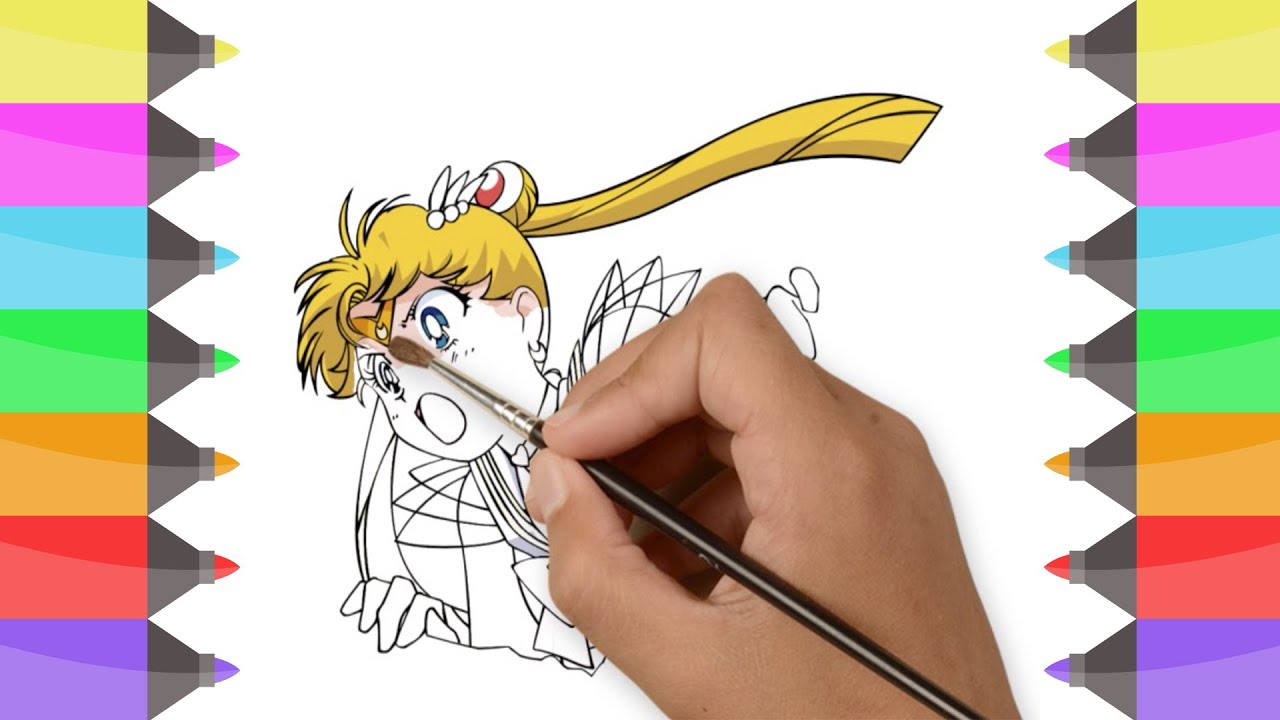 How to draw sailor moon easy colouring manga for kids learning coloring for children