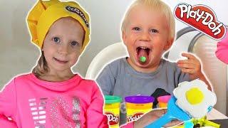 РЕБЕНОК Съел Play-Doh ПЛЕЙ ДО новая КУХОННАЯ ПЛИТА Плей до готовка на кухне Милана повар Family Box