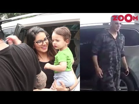 Sunny Leone spotted with her husband and kids | Akshay at the airport | Celebs Spotted