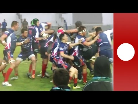 Britain vs France navy rugby match descends into brawl