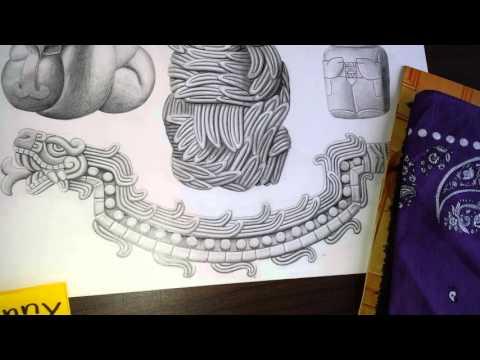 Drawing Aztec custom tattoo designs from LA